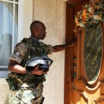 Acting Lieutenant Commander Ferguson taking time away from the operation to walk door to door during the Lock Down exercise to make our neighbors fully aware of the drill exercise.