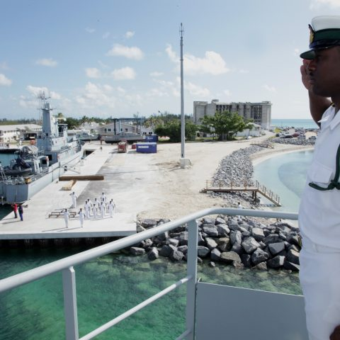 Photo Shows HMBS Lawrence Major entering Coral Harbour Base.