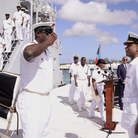 Commanding Officer of HMBS Lawrence Major, Lieutenant Commander Milton Munroe reporting the vessel and crew to Commander Defence Force, Commodore Tellis Bethel.