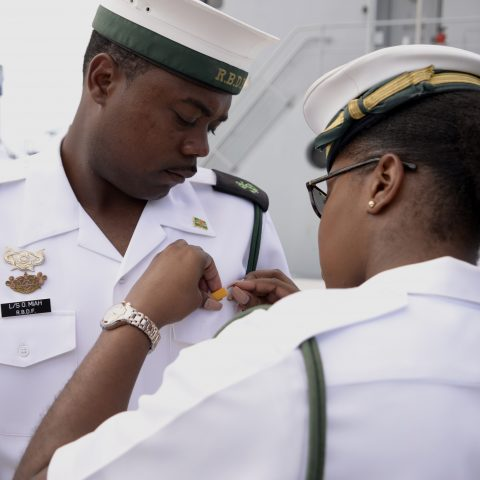 Marines from the ship's crew receiving medals to honor their disaster relief efforts in Dominica.