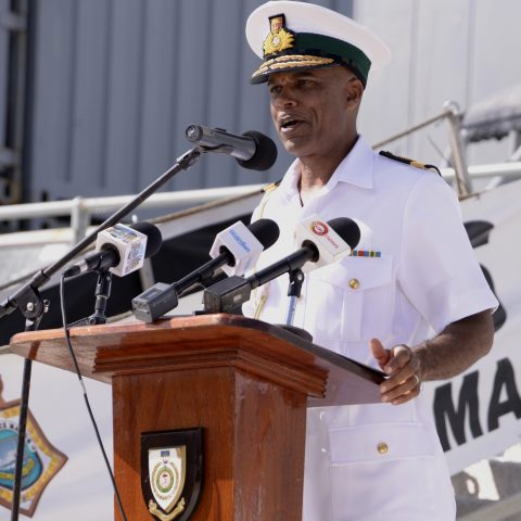 Commander Defence Force Commodore Tellis Bethel giving his remarks.