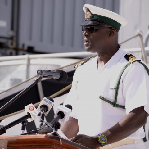 Commanding Officer of HMBS Lawrence Major, Lieutenant Commander Milton Munroe giving his remarks.
