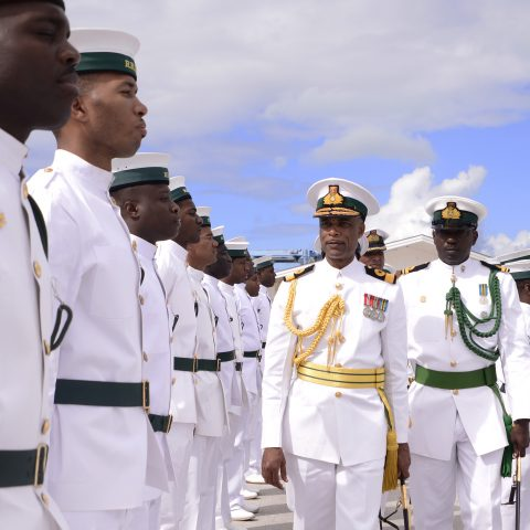 Commander Defence Force, Commodore Tellis Bethel and Lieutenant Edward Fritz leading a routine inspection of one of the platoons during the Commander Defence Force Divisions on February 9, 2018 at HMBS Coral Harbour.