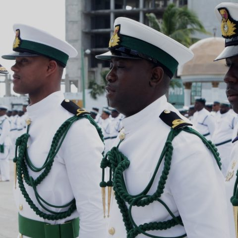 Commodore Tellis Bethel conducting an inspection of the Officer Platoon during the Commander Defence Force Divisions on February 9, 2018 at HMBS Coral Harbour. (RBDF Photos by Marine Seaman Kyle Smith)