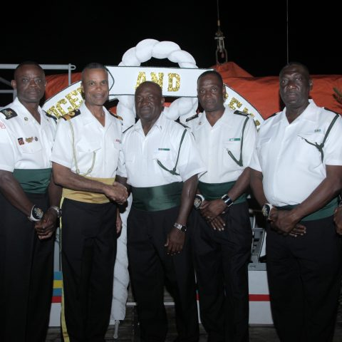 RBDF Warrant Officers with Commander Defence Force Commodore Tellis Bethel during the 38th Anniversary reception at the Defence Force Base on April 5, 2018. From left: Warrant Officers Randy McFall and Oral Wood, Commodore Tellis Bethel, and Warrant Officers Dereck Christie, Basil Miller, Christopher Collie and Edwin Fountain.