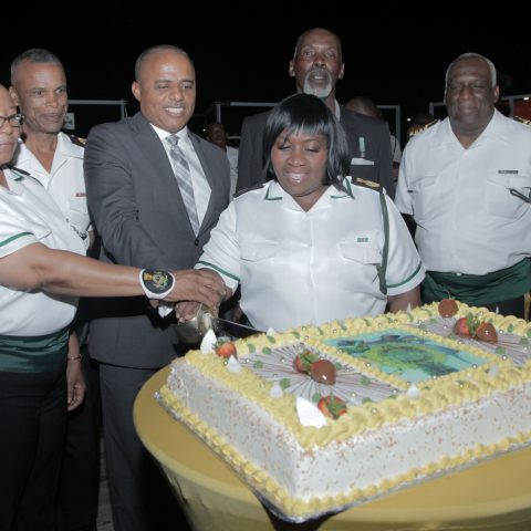 The symbolic cutting of the cake on April 5, 2018 to mark the 38th anniversary of the Royal Bahamas Defence Force. From left: Force Chief Petty Officer Idamae Ferguson, Commodore Tellis Bethel, Honourable Marvin Dames, Chief Petty Officer Rory Adams, Chief Petty Officer Godfrey Barry (Retired) and Captain Philip Clarke, Captain Coral Harbour (Acting).