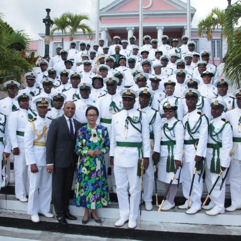 The RBDF Officers who received their Commissions and also the recipients of the Long Service and Good Conduct badges on April 20, 2018 at Government House.  Also shown are: The Governor General Her Excellency Dame Marguerite Pindling, Commodore Tellis Bethel and his Executive Command Team.