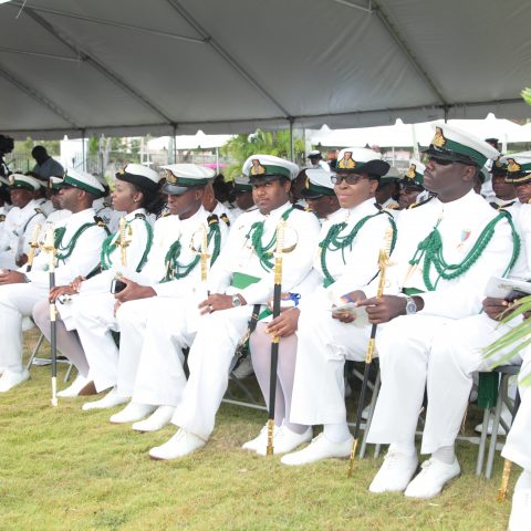 Some of the RBDF Officers in the foreground who received their Commissions and Awards and Decorations medals from Her Excellency Dame Marguerite Pindling on April 20, 2018. Just over 100 Defence Force Officers and Marines were recognized at Government House.