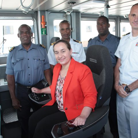 Ms. Stephanie Bowers, US Chargé d'Affaires on a tour onboard one of the Defence Force's Legendary Class patrol craft, HMBS Leon Livingstone Smith.  From left: Lieutenant Commander Stephen Rolle, Commanding Officer, HMBS Loen Livingstone Smith, Commodore Bethel, Sub Lieutenant Themo Berkley, and  Commander Patrick Davis, Chief Defence Attache.