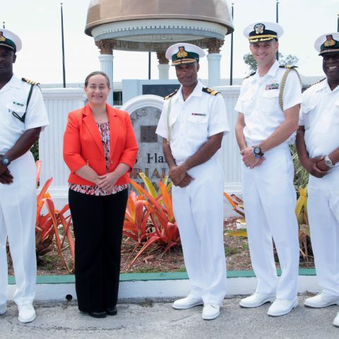 Ms. Stephanie Bowers, US Chargé d'Affaires during her courtesy call on Commander Defence Force.   From left: Captain Samuel Evans, Deputy Commander Defence Force, Ms. Stephanie Bowers, Commodore Tellis Bethel, Commander Patrick Davis, Chief Defence Attache, Officer of Defense Cooperation, USA and Captain Philip Clarke, Captain Coral Harbour (Acting).
