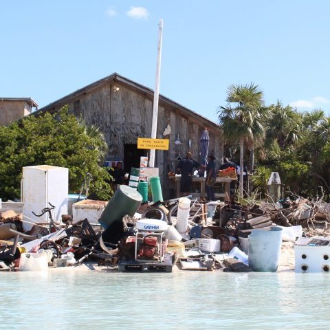 A quantity of accumulated debris at the Exuma Cays Land and Sea Park during a recent clean-up effort by members of the Royal Bahamas Defence Force.