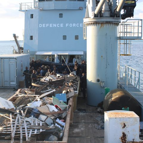 A quantity of accumulated debris aboard the Defence Force's auxiliary landing craft HMBS Lawrence Major during a recent clean-up effort by members of the Royal Bahamas Defence Force.