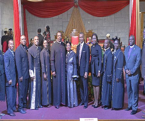 Ordained Members of the Defence Force along with Commodore Tellis Bethel, Apostle Christopher Russell and his wife Elder Anna Russell.