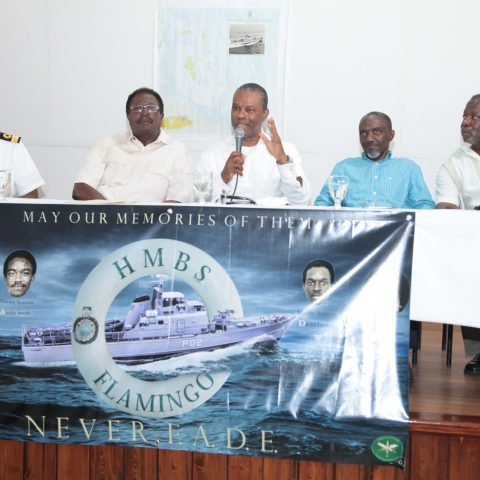 Commodore Tellis Bethel and 4 of the surviving crew members of HMBS Flamingo at the Defence Force Base on May 4, 2018 to share accounts of the tragic day 38 years ago.  From left: Commodore Tellis Bethel, Senior Commander (Retired) Amos Rolle, the former Commanding Officer of HMBS Flamingo, Captain (Retired) Anthony Allens, Force Chief Petty Officer (Retired) Gregory Curry and Chief Petty Officer (Retired) Anthony Russell.