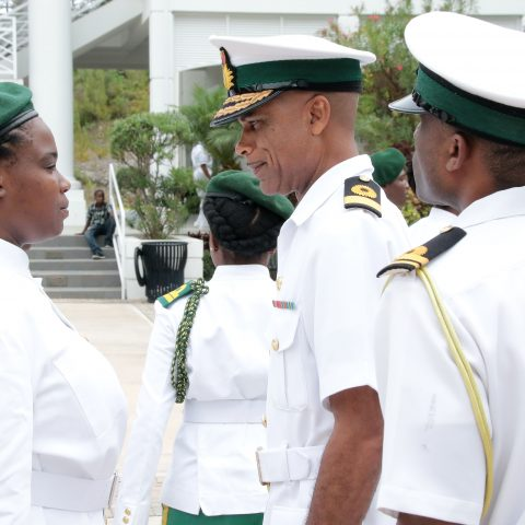 Commander Defence Force, Commodore Tellis Bethel conducting a routine inspection of the RBDF Rangers Platoon during the Passing Out Parade on the island of Abaco. A total of 36 students were inducted into the program.