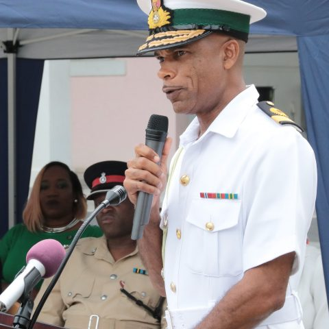Commander Defence Force, Commodore Tellis Bethel bringing remarks during the Passing Out Parade on the island of Abaco. A total of 36 students were inducted into the program.