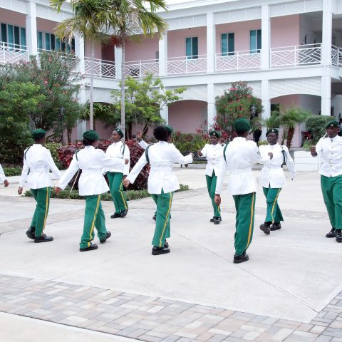 The RBDF Rangers Special Drill Team performing a routine during the Passing Out Parade on the island of Abaco. A total of 36 students were inducted into the program.