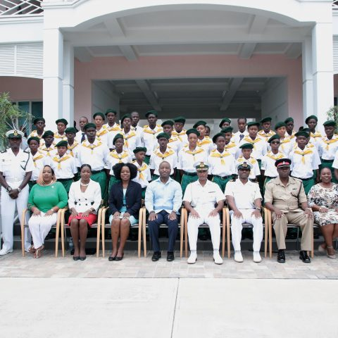 RBDF Rangers who graduated into the program  during the Passing Out Parade on the island of Abaco along with Command Force Chief Oral Wood and Ranger Instructor Marine Seaman Deangelo Green.  Seated from left are:  Mrs. Telanna Newbold Parents In Action Group (PAIG) President Central Abaco; Mrs. Dominique Russell-McCartney District Superintendent Of Education; Ms. Maxine Duncombe Senior Deputy Family Island Administrator; The Hon. Darren Henfield MP for North Abaco; Commodore Tellis Bethel Commander Defence Force; Lieutenant Delvonne Duncombe Rangers Director; Superintendent Stubbs,  Abaco District; Ms. Shantell McDonald PIAG President North Abaco.