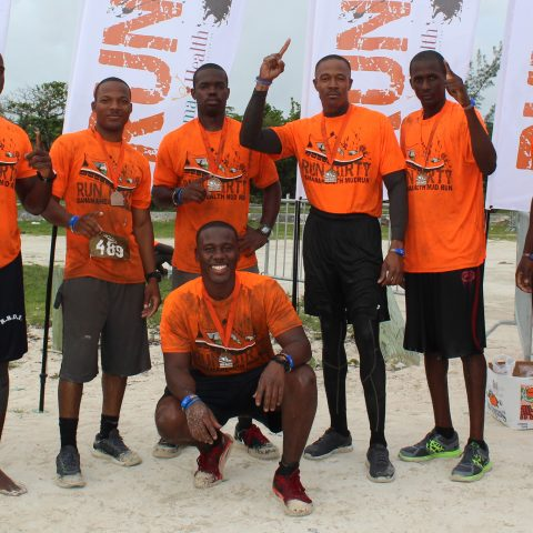 Some of the Defence Force participants in the Bahama Health Mud Run 2018. From left: Able Seaman Gregory Lockhart, Marine Seaman Darius Johnson, Able Seaman Georgino Bodie, Marine Mechanic Christopher Cash, Able Mechanic Kahj Hall, Able Seaman Dorian McKenzie and Marine Seaman Ezra Bodie.