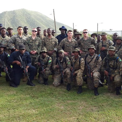 The combined unit of Bahamian security forces currently taking part in Tradewinds Exercise Phase 1 in St. Kitts. Also shown are some members of the United States forces.