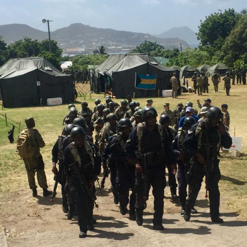 The combined unit of Bahamian security forces currently taking part in Tradewinds Exercise Phase 1 in St. Kitts.