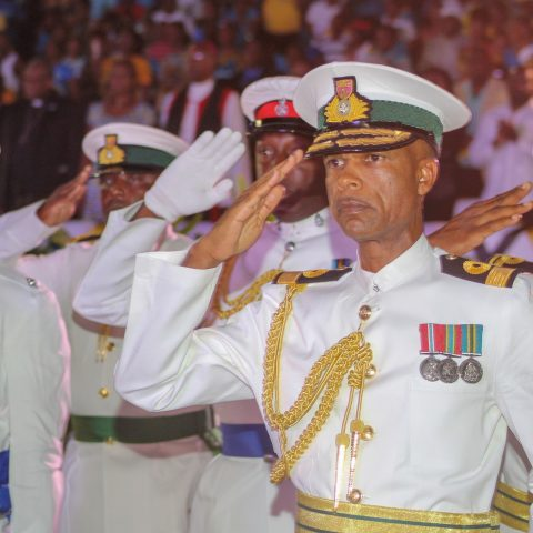 Commodore Tellis Bethel along with partnering law enforcement agencies taking a salute during the 45 th Independence celebrations on Clifford Park on July 9, 2018.