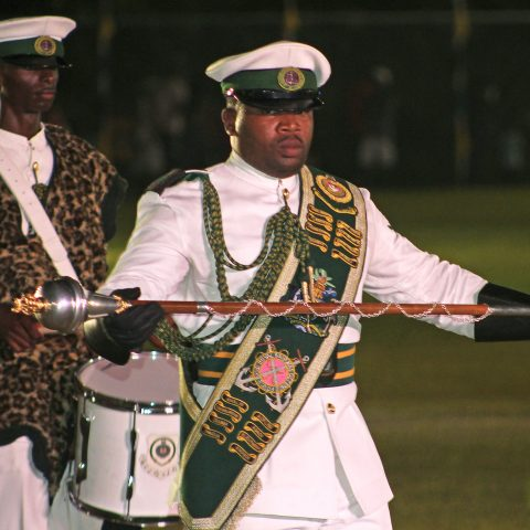 Able Seaman Lavardo Sand, RBDF Band Major and Marine Seaman Troy Seymour performs during the 45th Independence celebrations on Clifford Park on July 9, 2018.