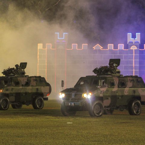 Two armored personnel carriers used during the 45th Independence celebrations on Clifford Park on July 9, 2018. It was deployed to assist in taking down a person of interest during a simulated terrorist threat exercise.