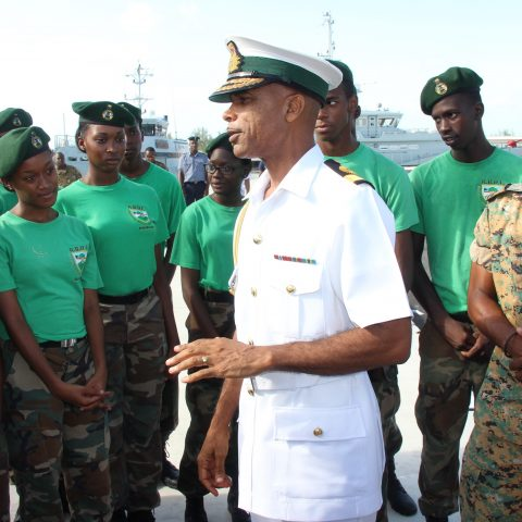 Commander Defence Force, Commodore Tellis Bethel speaks to the RBDF Rangers on July 13, 2018 at HMBS Coral Harbour. Also shown is Rangers Director Lieutenant Delvonne Duncombe.
