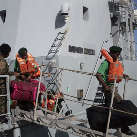 Leading Woman Marine Karia Smith assisting the Rangers as they disembark off HMBS Lawrence Major on July 14, 2018. The RBDF Rangers are attending a 3-week Summer Camp in Freeport, Grand Bahama.