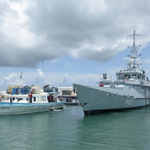 HMBS Durward Knowles (P-422) towing captured Dominican Vessel