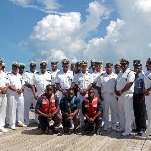 Members of the RBDF's Harbour Patrol Unit at the handover ceremony on August 14, 2018 at the HPU facility. Also shown are: Commander Defence Force, Commodore  Tellis Bethel and the Commanding Officer of the RBDF Harbour Patrol Unit, Senior Lieutenant Andrew Bowe.