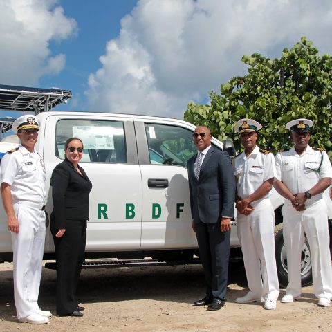 Commander Kevin Self, Senior Defense Attaché; Ms. Stephanie Bowers, US Chargé d'Affaires at the United States Embassy; The Honorable Marvin Dames; Commander Defence Force, Commodore Tellis Bethel; Commanding Officer of the RBDF Harbour Patrol Unit, Senior Lieutenant Andrew Bowe and Force Chief Petty Officer Oral Wood, Command Force Chief at the handover ceremony on August 14, 2018.