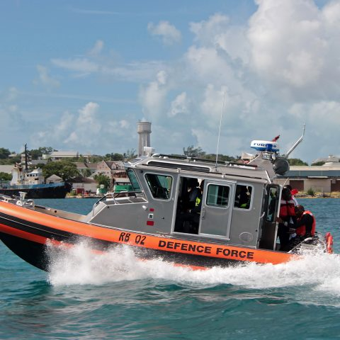 The 25-ft Safe Response Boat taking the dignitaries on a short tour of the harbour following the handover ceremony on August 14, 2018.