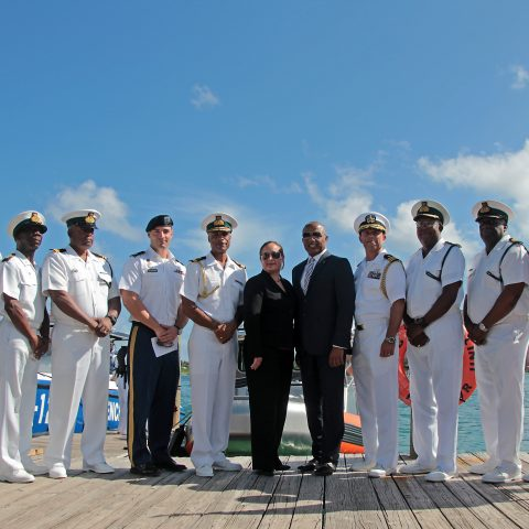 Honorable Marvin Dames, Minister of National Security; Ms. Stephanie Bowers, US Chargé d'Affaires at the United States Embassy; Commander Defence Force, Commodore Tellis Bethel and special invited US representatives and RBDF Senior Officers and Command Force Chief at the handover ceremony on August 14, 2018.