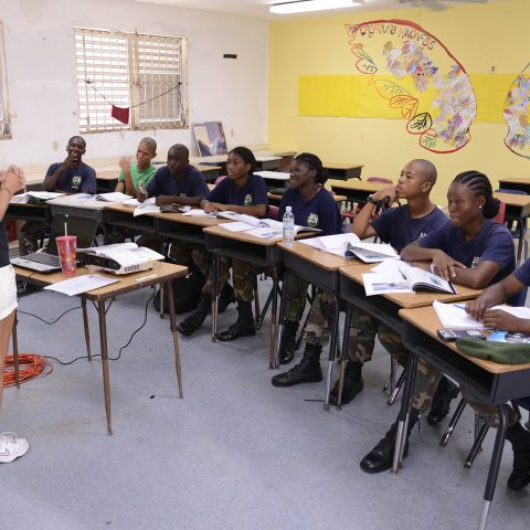 Ms. Sherry Wood, an Open Water Diver and volunteer speaking to the Rangers at the RBDF Rangers Summer Camp in Grand Bahama.