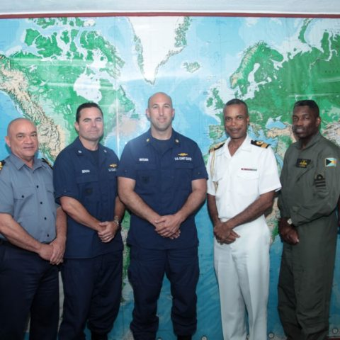Photo shows from left: Lieutenant Commander Derrick Ferguson, Security Intelligence Officer and Commanding Officer Commando Squadron; Commander Clarence Dean, Commander Operations; Commander Michael Benson; Director of Operation Turks and Caicos; Lieutenant Commander Justin Matejka United States Coast Guard Liaison Officer; Commander Defence Force, Commodore Tellis Bethel; Commander Shonedel Pinder, RBDF Airwing Commanding Officer; Lieutenant Commander Carlon Bethel, Squadron Commanding Officer.