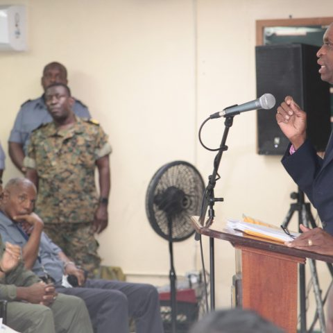 The Honorable Keith Thompson making his presentation to Defence Force Officers and Marines during the first Annual Legal Aid Seminar and Clinic on 21st September 2018 at Coral Harbour Base.