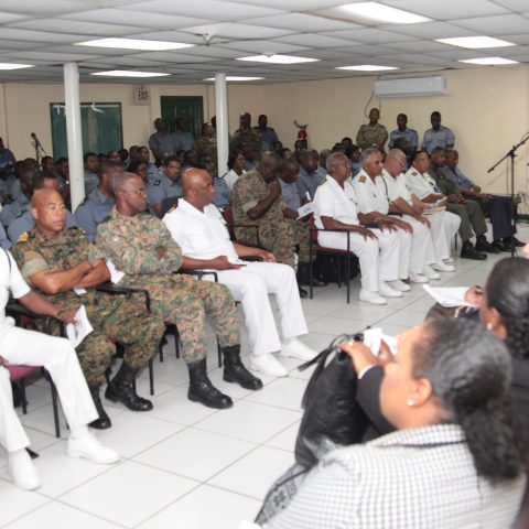 Representatives from the Judiciary and the The Bahamas Bar Association at the first Annual Legal Aid Seminar and Clinic on 21st September 2018 at Coral Harbour Base. Bringing remarks is Deputy Commander Defence Force, Captain Samuel Evans.