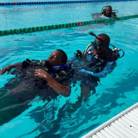 Defence Force PADI Rescue Divers going through a training routine during the Divemaster Course