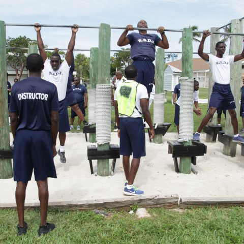 RBDF Personnel participating in the pull up exercise during the annual Base Fitness Test at the Defence Force Base.