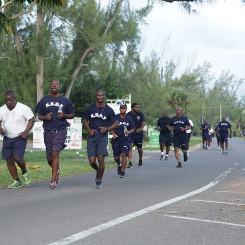 RBDF Personnel participating in the 1.5 mile run exercise during the annual Base Fitness Test at the Defence Force Base.