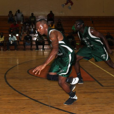 Marine Seaman Michael Ferguson and Marine Mechanic Duran Fernander pushing the ball upcourt in playoff action of The Bahamas Government Departmental Basketball Association on Spetember 28, 2018. The Aces won the best of 3 series against the RBDF Mariners in 2 straight games.