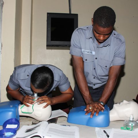 Marine Seaman Alvin Seymour and Woman Marine Lavendar Woodside performing CPR training in a simulation exercise during the American Heart Association First Aid and CPR Training at the Coral Harbour Base.