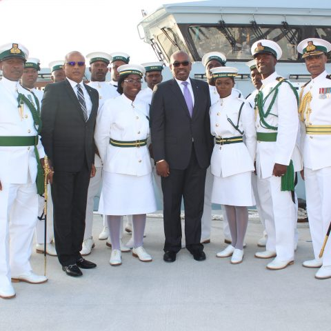 The crew of HMBS MADEIRA at the official Commissioning ceremony for the Royal Bahamas Defence Force patrol craft on November 28, 2018. Also shown are: Prime Minister The Most Honorable Dr. Hubert Minnis; Minister of National Security, the Honourable Marvin Dames; Commodore Tellis Bethel, Commander Defence Force and Senior Lieutenant William Sturrup,Commanding Officer.