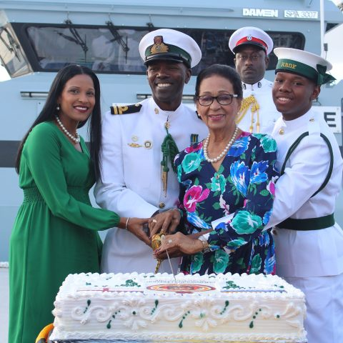 Governor General Her Excellency The Most Honourable Dame Marguerite Pindling performing the traditional cutting of the cake during the official Commissioning ceremony for the Royal Bahamas Defence Force patrol craft, HMBS MADEIRA on November 28, 2018. Also shown from left: Mrs. Genaye Sturrup; Senior Lieutenant William Sturrup,Commanding Officer HMBS MADEIRA; Inspector Alexis Roberts, Aide-de-Camp Governor General; and Marine Seaman Shavano Seymour, Shipmate HMBS MADEIRA.