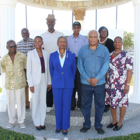 The 2018 Class of Sporting Hall of Famers along with representatives from the Ministry of Youth, Sports and Culture at the Defence Force Base on November 16, 2018.
