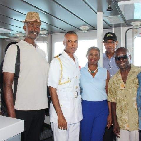 Commander Defence Force Commodore Tellis Bethel and the Class of 2018 Sporting Hall of Famers onboard HMBS Rolly Gray, one of the Legend Class vessels on November 16, 2018.