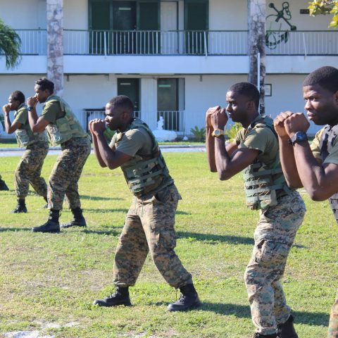 RBDF Marines taking part in the Close Range Combative Systems (CRCS) training course at the Coral Harbour Base.