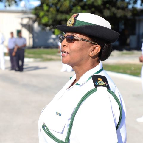 Force Chief Petty Officer Idamae Ferguson giving words of encouragement to those in attendance during her farewell ceremony at the Defence Force Base.